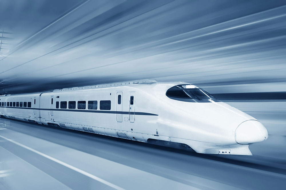 Fast-moving train with blur