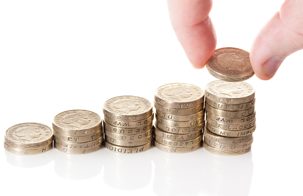 British Pound Sterling Coin Stack